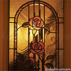 ステンドガラス/プロヴァンスハウス/フレンチハウス/自然素材/注文住宅/宇治/... ピンクの薔薇の素敵なステンドガラス 🌹💖