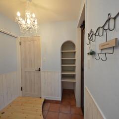 フレンチハウス/自然素材の家/マイホーム計画/マイホームが欲しい/かわいい玄関/パインの床材/... 築53年全面まるごとリノベーションハウス…