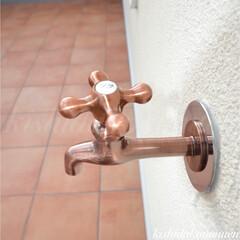 ブロンズ/立水栓/プロヴァンスハウス/自然素材/注文住宅/宇治/... 昔懐かしいハンドルのブロンズの立水栓 ✨…