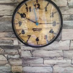 リメイク/リメイクシート/寝室/壁掛け時計/時計/インテリア/... IKEAの249円の激安壁掛け時計をリメ…
