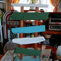 作成中/看板プレートスタンド/流木/DIY/ハンドメイド こないだ流木拾って来たんで 看板スタンド…