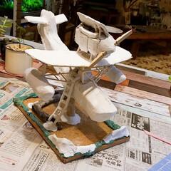 頑張ってます/今日も作業中/ジブリ大好きおじさん/紙粘土/進捗状況/飛行機🐽/... ダンボールDIY【飛行機🐽】 進捗状況 …