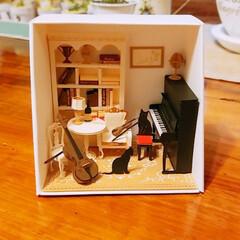 音楽のある部屋/完成/ペーパークラフト/DIY ペーパークラフト完成😅👍 型紙をカットし…