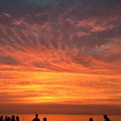 夕日/サンセット/淡路島 淡路島のサンセット! 曇り空から日没ぎり…
