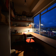 オリジナル空間/造作キッチン/書斎/中古買ってリフォーム マンションの一室を書斎スペースに。 高台…