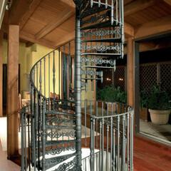 螺旋階段/屋外階段/屋内カイダン/ロフト階段/階段/輸入住宅/... 伝統的なアイアン製螺旋階段