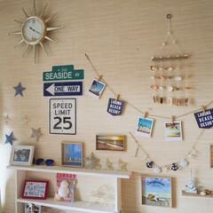 夏らしく🌴/壁面飾り/子ども部屋/キャンドゥ/雑貨/100均/... セリアとキャンドゥで見つけた新商品で、子…