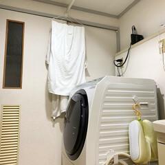 原状回復/突っ張り棒/バスタオル/生活の知恵/収納/脱衣所収納/... 我が家の脱衣所はとても狭いです。 バスタ…
