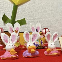 雛人形/ひな祭り 我が家のお雛様です😍✨ 折り紙は末っ子ち…(1枚目)