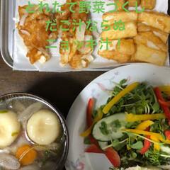 こんがりグルメ ニョッキ汁と自家製野菜の天ぷらとサラダ❣…