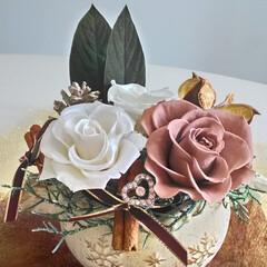 アンティーク/プリザ アンティークショコラとホワイトのバラのプ…