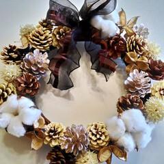 木の実リース/クリスマスリース/リース/木の実/クリスマス/ホワイト/... ホワイトクリスマスをイメージしたクリスマ…