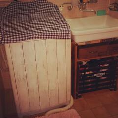 DIY/洗面台下/配管隠し/ストック収納 1.改善したかった点 配管丸見え洗面台下…