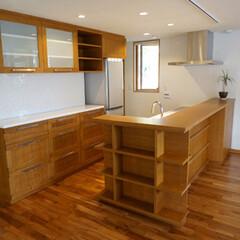 キッチン/kitchen/収納/タモ/カウンター/家具/... キッチンカウンター / キッチンバック収…