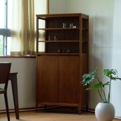 インテリア/家具/リビング/キッチン/ナラ/収納/... やや小さめのシンプルなカップボード。 上…