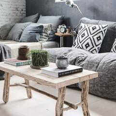 寝室/DIY/足場板/流木 流木と足場板でテーブルをDIY☺︎