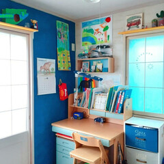 学習机/クッションフロアシート/障子リメイク/リフォーム/和室を洋室に/子供部屋/... 新学期始まりました✋ お久しぶりの子供部…(2枚目)