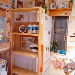 キッチンインテリア/ヴィンテージスタイル/アメリカンインテリア/DIY主婦/DIY女子部/収納アイデア/... ずっと作りたかった隙間収納を作りました💕…