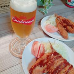 夕飯メニュー/アジフライ/バドワイザー/ビールグラス/おうちごはん/インテリア/... バドワイザーのビールグラス💕  メルカリ…