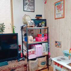 オープンラック/引き出しDIY/棚/物置/部屋全体/リビング/... おはよーございます😊  娘のおもちゃ置き…