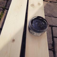 ソリッドカラー 90g SC-12 ダークブラウン  水性ペースト状ニス ウッドアトリエ ワックス感覚で使える 屋内木部用 | 和信ペイント(Washi Paint)(ニス、ステイン)を使ったクチコミ「今日はいいお天気でDIY日和♪  前から…」