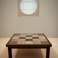 座卓/モザイク/ローテーブル 畳上にて月みる気分、そんなお部屋に合わせ…