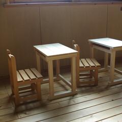 昭和レトロ/学童椅子/子供椅子/組み立てキット/キッズ家具 こんな並べ方、子供の頃を思い出す…(昭和…