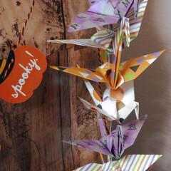 おりがみ/ハロウィン/インテリア/ダイソー ハロウィン仕様のおりがみで鶴を折りました…