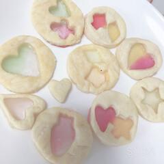 飴玉/ステンドグラスクッキー/おやつタイム 昨日娘と一緒にクッキー作り☆ かわいくお…