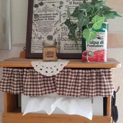 空き缶/グリーン/雑貨/100均 キッチンの壁に設置したティッシュboxで…