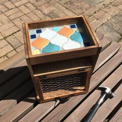 タイル/DIY/100均/セリア/インテリア/収納 お庭でお茶したい! タイルのカフェトレー…