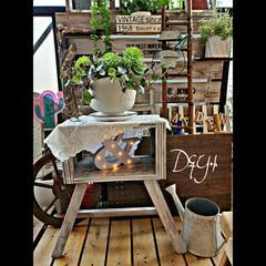 ミニテーブル/花台DIY/DIY/ハントメイド/すのこリメイク スノコからのリメイクです。不要なものが変…(1枚目)