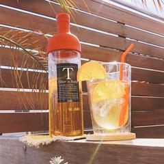 HARIO FIB-75-R レッド フィルターインボトル 水出し茶ボトル (750ml) | ハリオ(急須)を使ったクチコミ「お庭でゆったりティータイム🌴🌼 H&F …」