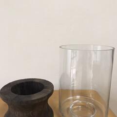 フラワーベース/花のある暮らし/ディスプレイ/花瓶/玄関インテリア/玄関/... ガラスと木を組み合わせたデザイン性の高い…(4枚目)