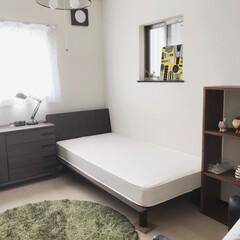無印良品/スタッキングシェルフ/無印良品ベット/IKEAソファ シンプルな寝室で落ち着きます(*^^*)…