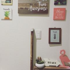 西海岸インテリア/パイナップル/フラミンゴ/ポスター/キャンドゥ/DIY/... 今日の100均購入品。  正方形のアート…