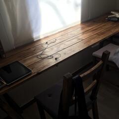 カウンターテーブル 窓側に3mのカウンターテーブルをDIY!…