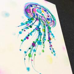 ポストカード/暑中見舞い/アート/夢ロゴアート なんだかクラゲが描きたくなった(。・з・…