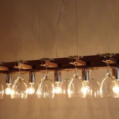 北欧/自然素材/ワインバー/レストラン/日本製 グラスシャンデリアのニューデザイン。縦長…(1枚目)