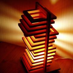 行灯/デザイン照明/木製/日本製/インテリア/スタンドランプ/... 14枚の木枠を引き出しにようにスライドさ…