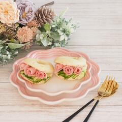 フリル/バラ/ミニバラ/サンドイッチ/パン作り/米粉/... 米粉ベーグルサンド♡  今日もベーグルを…(2枚目)
