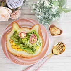 パン/サラダ/サラダサンド/ねこねこアレンジ/ねこねこ食パン/グラホ にゃー×サラダサンド♡  今日はシンプル…(1枚目)
