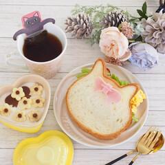ねこねこ食パン/スライス生チョコレート/ハムカッター/ダイソー/DAISO にゃーサンド×ニャンティ♡  日曜日に食…(8枚目)