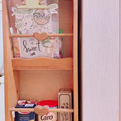 キッチン棚/飾り棚/リユース/マガジンラック/フードストッカー/limiaキッチン同好会/... 【マガジンラックをフードストッカーに変身…