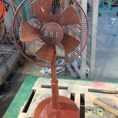 DIY/インテリア/住まい/塗装/フォーフィニッシュ 扇風機をかっこよく塗ってみた。 青いとこ…