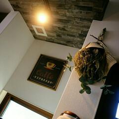 シューモールド/スポットライト/煉瓦の梁/ドライフラワーのある暮らし/珈琲看板/珈琲ミル/... 木製珈琲看板 壁掛け珈琲ミル  珈琲雑貨…