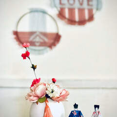 ミックスインテリア/海外インテリア/ウィービング/春/ひなまつり/ピンク/... 部屋のキャビネットの上にちょこんと飾って…