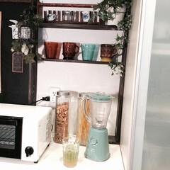 キッチン/棚DIY/カフェ風/100均/フャイヤーキング/ブルーノのブレンダー その時々でカップを選べるように棚に並べて…