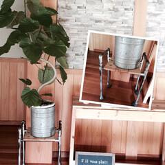 DIY/塩ビパイプ/花台/キャスター/植物 塩ビパイプでインダストリアルな花台をDI…