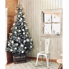 クリスマスツリー 210cm 雪が積もったような ツリーの木 北欧 おしゃれ グリーン(コニファー、針葉樹)を使ったクチコミ「210cmツリーにホワイトスプレーしてニ…」